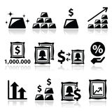 Alternative investments - investing money in gold and art icons Royalty Free Stock Photo