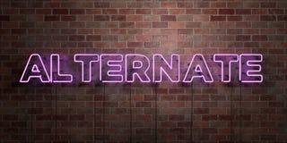 ALTERNATIVE - Leuchtstoffneonröhre-Zeichen auf Maurerarbeit - Vorderansicht - 3D übertrug freies Bild der Abgabe auf Lager Lizenzfreie Stockfotografie