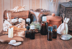 Alternative Medicine. Still life with glass small bottles Stock Image