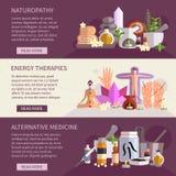 Alternative Medicine Banners. Horizontal banners showing alternative medicine flat icons set       vector illustration Stock Photography