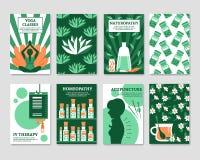 Alternative Medicine Cards Set Royalty Free Stock Images
