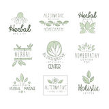 Alternative Medicine Center With Oriental Herbal Treatment And Holistic Massage Procedures Set OF Label Templates Royalty Free Stock Images