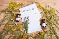 Alternative medicine concept - fragrant oil in the bottles, herb Royalty Free Stock Photography