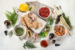 Alternative medicine concept. Herbal medicine and homeopathy stock image