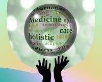 Alternative medicine crystal ball. Crystal ball and hands silhouette with alternative medicine healing Stock Photos
