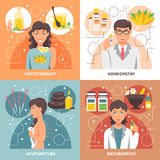 Alternative Medicine 2x2 Design Concept. Alternative medicine 2x2 concept set of homeopathy phytotherapy naturopathy acupuncture  flat design compositions vector Stock Image