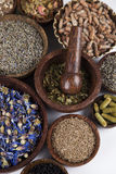 Alternative medicine, dried herbs background Royalty Free Stock Photo