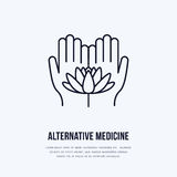 Alternative medicine flat line icon, logo. Vector illustration of lotos flower in hands for traditional treatment. Ayurveda, massage or yoga center Royalty Free Stock Photo
