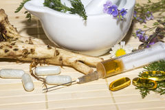 Alternative medicine and herbal extracts Royalty Free Stock Images