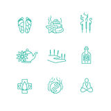 Alternative medicine homeopathy herb thin line vector icons. Aromatherapy and phytotherapy, herbal organic drugs illustration Royalty Free Stock Image