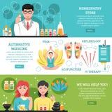 Alternative Medicine Horizontal Banners Stock Photo