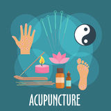 Alternative medicine icon with acupuncture therapy Royalty Free Stock Photos