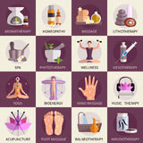 Alternative Medicine Icons Set Royalty Free Stock Images