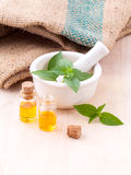 Alternative medicine lemon basil oil Royalty Free Stock Photos
