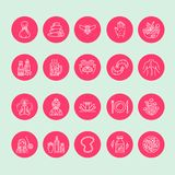 Alternative medicine line icons. Naturopathy, traditional treatment, homeopathy, osteopathy, herbal fish and leech. Therapy. Thin linear signs for health care Royalty Free Stock Photography