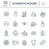 Alternative medicine line icons. Naturopathy, traditional treatment, homeopathy, osteopathy, herbal fish and leech. Therapy. Thin linear signs for health care Royalty Free Stock Photos