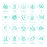 Alternative medicine line icons. Naturopathy, traditional treatment, homeopathy, osteopathy, herbal fish and leech Stock Image