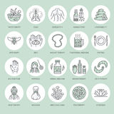 Alternative medicine line icons. Naturopathy, traditional treatment, homeopathy, osteopathy, herbal fish and leech. Therapy. Thin linear green colored signs for Royalty Free Stock Photos