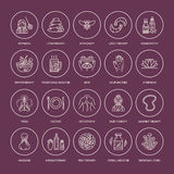 Alternative medicine line icons. Naturopathy, traditional treatment, homeopathy, osteopathy, herbal fish and leech Royalty Free Stock Photo