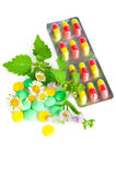 Alternative medicine. Pills and herbs Royalty Free Stock Photos