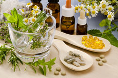 Alternative Medicine. Rosemary, mint, chamomile, thyme in a glass mortar. Essential oils and herbal supplements stock photography
