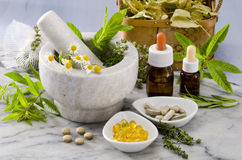 Alternative Medicine. Rosemary, mint, chamomile, thyme in a marble mortar. Essential oils and herbal supplements stock photo