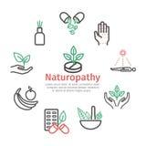 Alternative Medicine banner. Naturopathy line icons. Vector sign for web graphic. Alternative Medicine symbols. Naturopathy line icons. Vector sign vector illustration