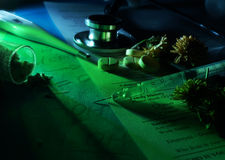 Alternative medicine. Test tubes, bottles, pills and herbs. Selective focus Royalty Free Stock Images