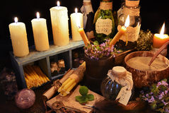 Alternative medicine theme ot witch table Royalty Free Stock Photo