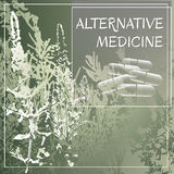 Alternative medicine theme vector illustration with  herbs and herbal pills. Royalty Free Stock Photography