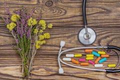 Alternative medicinedry Kräuter und Pillen wiphonendoscope auf einem hölzernen backgroundth lizenzfreies stockfoto