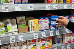 Alternative medicines. GERMANY - MARCH 2016: Shelves with herbal medicinal products, medicines sold directly to a consumer without a prescription in a REWE Stock Images