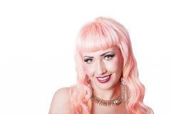 Stunning girl with coral pink hair Royalty Free Stock Image