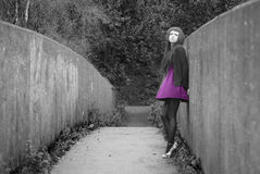Alternative Model stood on a bridge. In british countryside royalty free stock photos