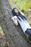 Alternative Model stood in the Woods. In british countryside stock photography