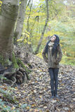 Alternative Model in Woods with Trees. In british countryside stock photography
