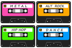 Alternative music. Listening to alternative music like metal, alt rock, hip hop and dance Stock Photos