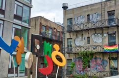 Alternative New York. Buildings in the street with graffiti. Stock Photo