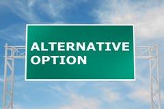 Alternative Option concept. 3D illustration of ALTERNATIVE OPTION script on road sign Royalty Free Stock Image