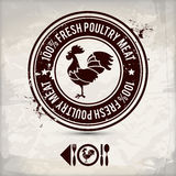 Alternative poultry stamp. Alternative poultry label / stamp on textured background, which is made from several transparent layers for a worn, rubbed effect Royalty Free Stock Photo