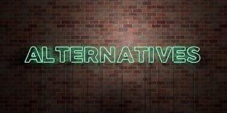 ALTERNATIVE - segno fluorescente del tubo al neon su muratura - vista frontale - 3D ha reso l'immagine di riserva libera della so Immagine Stock