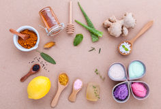 Alternative skin care and homemade scrubs with natural ingredien Royalty Free Stock Photos