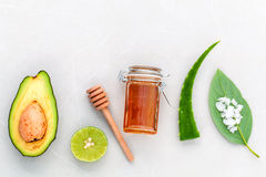 Alternative skin care  and scrub fresh  avocado. Royalty Free Stock Images