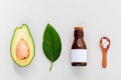 Alternative skin care  and scrub fresh  avocado Stock Images