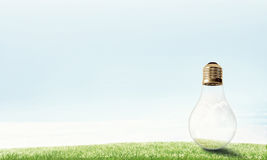 Alternative solar energy concept. Electric light bulb against summer cloudy sky Royalty Free Stock Photography