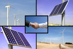 Alternative solar and wind energy. Solution to global warming Royalty Free Stock Photos