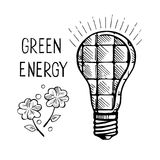 Alternative sources of electricity. Solar panels. Ecological energy. Vector hand drawn sketch royalty free illustration