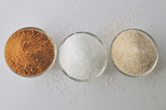 Alternative sweeteners - organic coconut sugar, xylitol, cane sugar, Royalty Free Stock Image