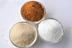 Alternative sweeteners - organic coconut sugar, xylitol, cane sugar Royalty Free Stock Photos