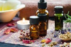 Alternative Therapie mit Kräutern und ätherischen Ölen stockbild